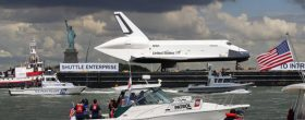 Space shuttle Enterprise docks